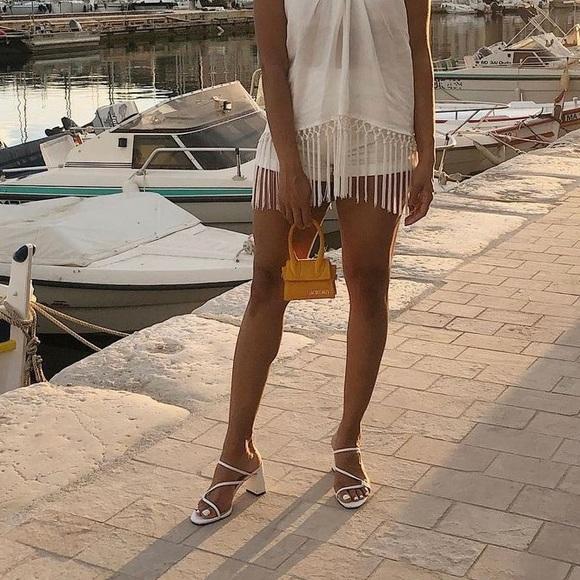 Zara White Cross Strap Mule Sandal Sz 37 1360/001
